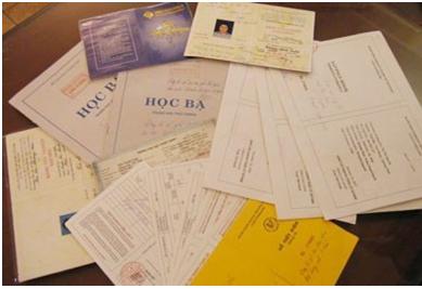 các giấy tờ liên quan tới học tập
